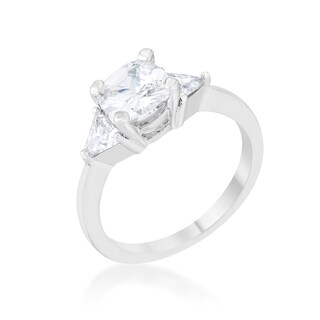 Shonda 1.8-carat Clear Cubic Zirconia Platinum-overlay Cushion-cut Classic Statement Ring (More options available)