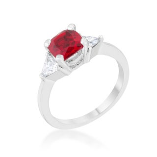 Shonda Rhodium Garnet and Cubic Zirconia Cushion Classic Statement Ring