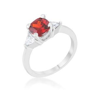 Shonda White Platinum Overlay Ruby/Cubic Zirconia Rhodium Classic Statement Ring