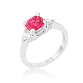 Shonda Platinum Overlay Pink and White Cubic Zirconia Statement Ring