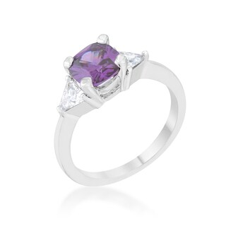 Shonda Rhodium-plated 1.8ct Amethyst CZ Cushion Cut Classic Statement Ring