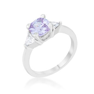 Shonda Rhodium 1.8ct Lavender CZ Cushion Classic Statement Ring