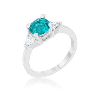 Shonda Platinum Overlay White and Aqua Cubic Zirconia Classic Statement Ring