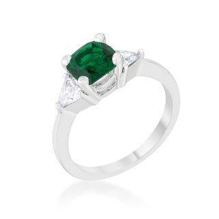 Shonda Rhodium 1.8-carat Emerald Cubic Zirconia Cushion Classic Statement Ring