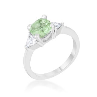 Shonda 1.8-carat Peridot Cubic Zirconia Platinum-plated Cushion-cut Classic Statement Ring
