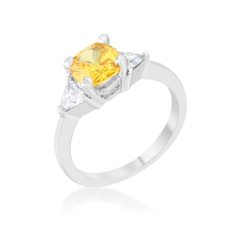 Shonda White Platinum Overlay Canary Cubic Zirconia Rhodium Statement Ring