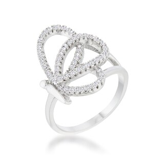 Bea Rhodium-plated 0.4ct Pave-set CZ Butterfly Ring