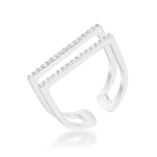 Jenn Platinum Overlay Cubic Zirconia Parallel Ring