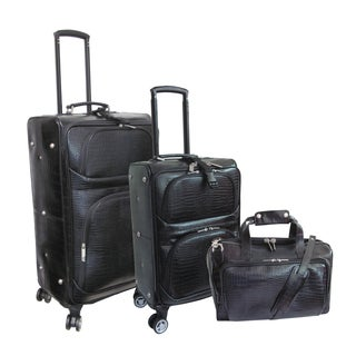 Amerileather Black Leather Croco-Print 3-piece Spinner Luggage Set