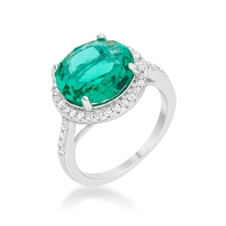 Emie Rhodium-plated 7.3ct Blue Green CZ Classic Ring