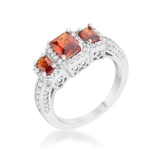 Rita Rhodium 2.3-carat Garnet Cubic Zirconia Classic Trio Ring