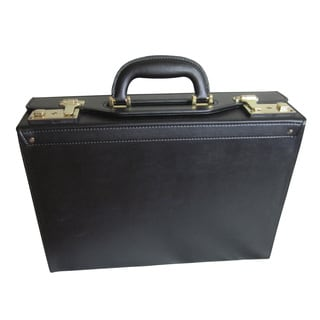 Amerileather Bryn Black Microfiber and Faux Leather Academy Attache Briefcase