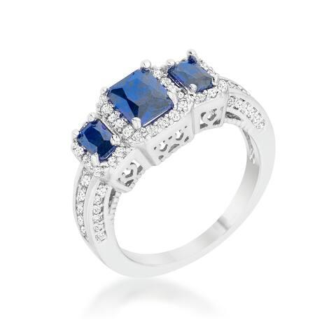 Rita Rhodium-plated 2.3-carat Sapphire and Cubic Zirconia Classic Trio Ring