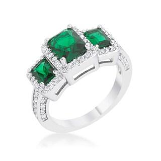 Rita Rhodium 2.3-carat Emerald Cubic Zirconia Classic Trio Ring