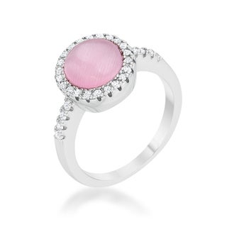 Patricia Rhodium 0.3ct CZ Pink Cat's Eye Classic Ring