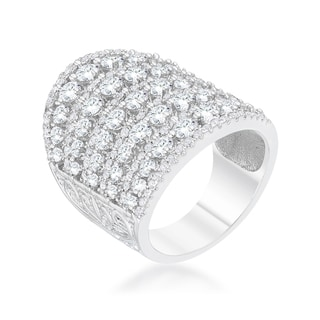 Charlyn Rhodium 2.5 ct CZ Statement Cocktail Ring