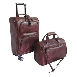 Amerileather Brown Lea 2-piece Spinner Luggage Set