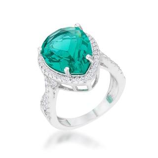 Laura Rhodium 9.9ct Green CZ Classic Teardrop Ring