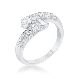 Women's White Platinum Overlay Cubic Zirconia Contemporary Wrap Ring