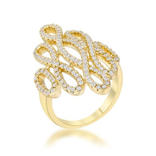 Natasha 0.94-carat Cubic Zirconia 14k Goldplated Contemporary Cocktail Ring