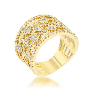 Marlene 14k Gold 0.6ct CZ Wide Band Cocktail Ring