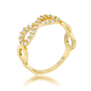 Mina 14k Yellow Gold Overlay 0.35ct CZ Infinity Ring (4 options available)