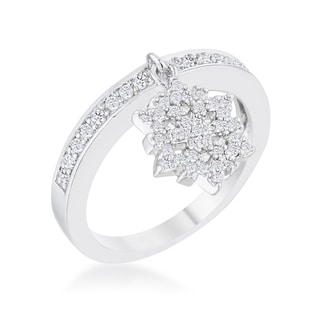 Snowflake 0.35k Cubic Zirconia Rhodium Simple Holiday Charm Band Ring