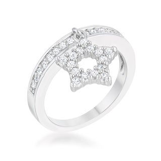 Women's White Platinum Overlay Cubic Zirconia Band Ring with Star Charm