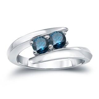 Auriya 14k Gold 1ct TDW 2-Stone Round Cut Blue Diamond Engagement Ring (H-I, SI2-SI3)