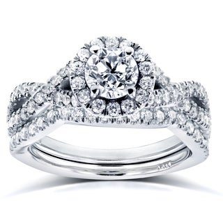 Annello by Kobelli 14k White Gold 1 1/5ct TDW Diamond Crossover Halo Bridal Set