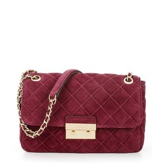 Michael Kors Sloan Dark Plum Quilted Suede Large Shoulder Handbag