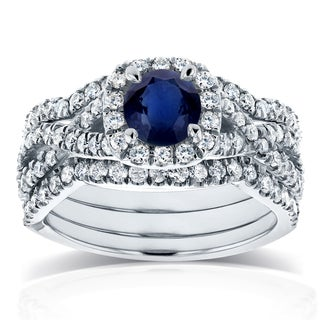 Annello by Kobelli 14k White Gold Sapphire and 7/8ct TDW Diamond Crossover Halo 3 Ring Bridal Set (GH, I1-I2)