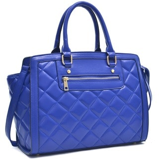 Dasein Quilted Front Zipper Satchel Shoulder Handbag