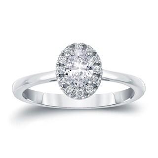 Auriya 14k Gold 3/5ct TDW Oval Diamond Halo Engagement Ring