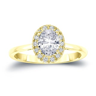 Auriya 14k Gold 1 1/8ct TDW Certified Oval Diamond Halo Engagement Ring (H-I, SI1-SI2)