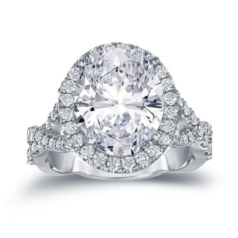 Auriya 14k Gold 5 3/4ct TDW Certified Oval Diamond Halo Engagement Ring