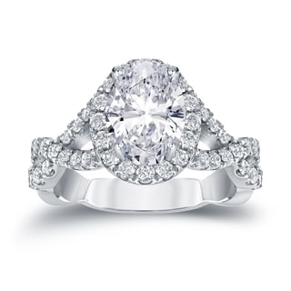 Auriya 14k Gold 2 1/8ct TDW Certified Oval Diamond Halo Engagement Ring (H-I, SI1-SI2)