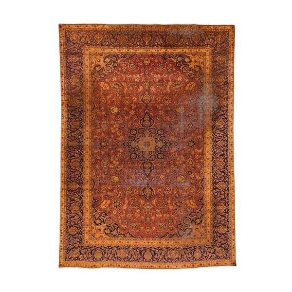 Shop Ecarpetgallery Hand Knotted Persian Kashan Red Wool: Shop Hand-knotted Wool Overdyed Persian Kashan Oriental