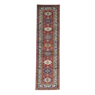 Hand-knotted Super Kazak Geometric Design Runner Rug (2'6 x 9'4)