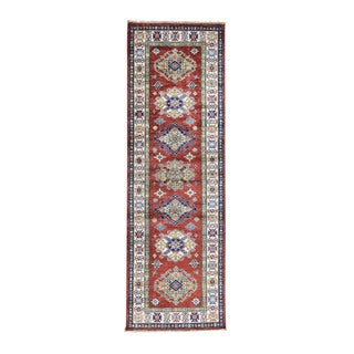 Hand-knotted Red Super Kazak Runner Tribal Design Rug (2'7 x 8'2)