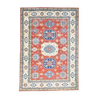 Hand-knotted Wool Geometric Design Red Kazak Oriental Rug (9'9 x 14')