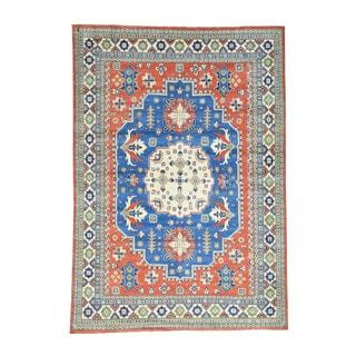 Hand-knotted Wool Kazak Geometric Design Oriental Rug (8'10 x 12'9)