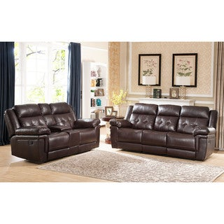 Abbyson Carly Tufted Brown Leather 2-Piece Reclining Sofa and Loveseat