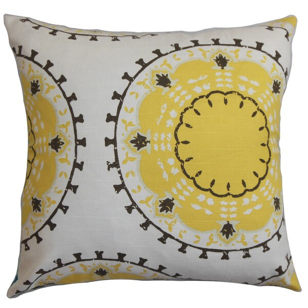 Edolie Geometric Euro Sham White Yellow