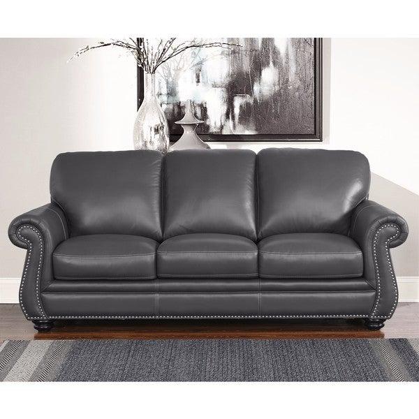 abbyson kassidy grey leather sofa free shipping today