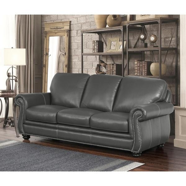 Shop Abbyson Kassidy Grey Leather Sofa On Sale Free Shipping