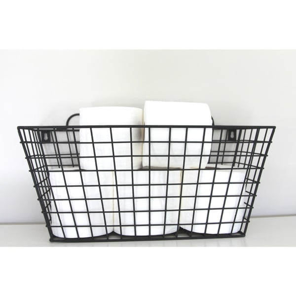 Wall Hanging Wire Baskets black metal long multi-functional wall hanging wire basket - free