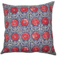 Xaria Floral Euro Sham Red Blue