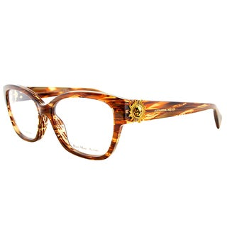 Alexander McQueen Striped Havana Plastic Rectangle Eyeglasses