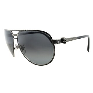 Alexander McQueen AMQ 4156 OBR HD Brushed Ruthenium Metal Aviator Grey Gradient Lens Sunglasses